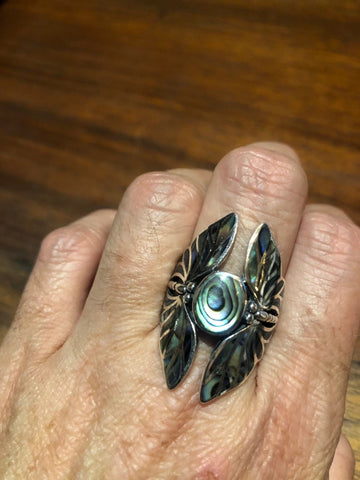 Antique Deco Abalone Butterfly fillgree sterling silver ring