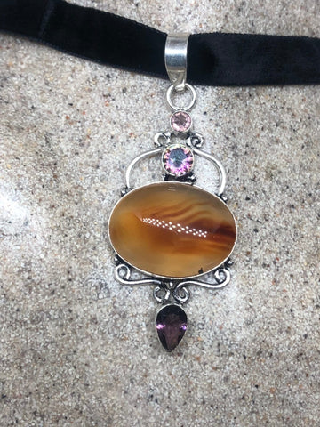 Vintage Handmade Gothic Styled Silver Finished Genuine Carnelian Agate and Choker Necklace