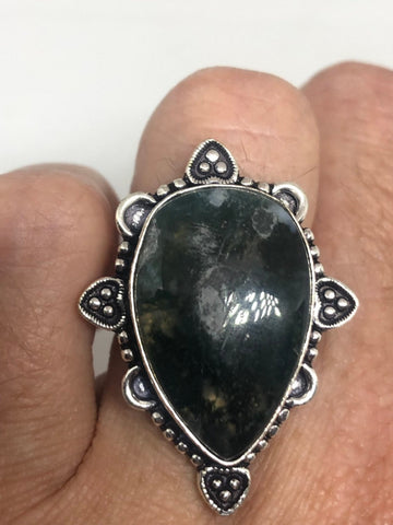 Vintage Green Moss Agate ring statement cocktail