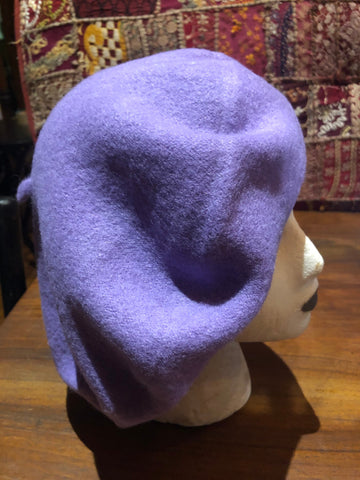 Vintage Purple wool felt 11 in beret hat