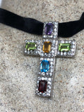 Nemesis Vintage Handmade 925 Sterling Silver mixed gemstone Cross Antique Pendant Necklace