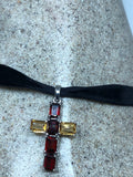 Vintage Gold Citrine Cross 925 Sterling Silver Pendant Choker Necklace