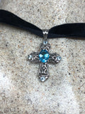 Vintage Genuine Blue Topaz Cross Choker Necklace 925 Sterling Silver Pendant