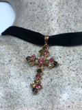 Vintage 925 Sterling Silver Mixed Color Tourmaline Cross Pendant
