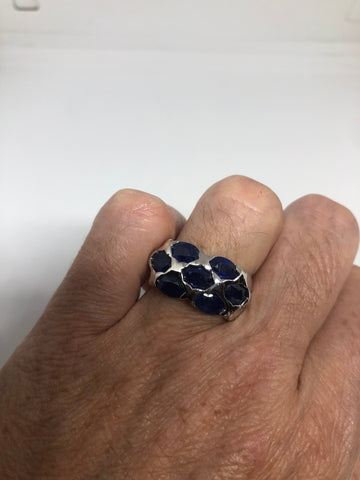 Vintage blue sapphire 925 Sterling Silver gothic Ring Size 7