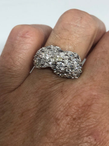 vintage clear white sapphire 925 Sterling Silver cocktail Ring SIze 6