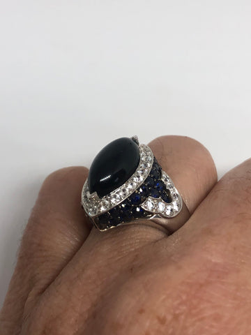vintage Deco black onyx Blue and white sapphire 925 Sterling Silver cocktail Ring SIze 7