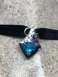Vintage genuine Blue Topaz 925 Sterling Silver Deco Choker Necklace pendant