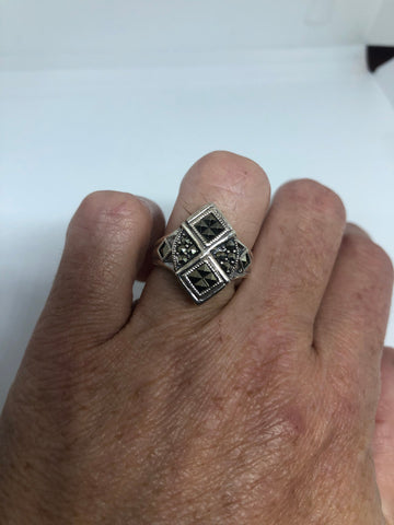 Vintage Swiss Marcasite 925 Sterling Silver Gothic Flower Ring SIze 7