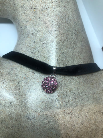 Vintage 925 Sterling Silver Genuine Red Tourmaline Antique Choker Pendant Necklace