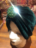 Vintage Green stretch velvet Deco Turban Hat
