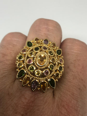 Vintage mixed color Tourmaline Golden 925 Sterling Silver Ring