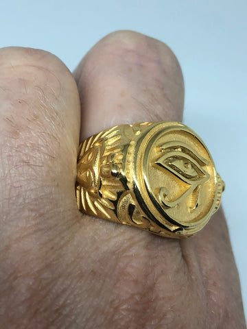 Vintage Golden Stainless Steel Egyptian Ankh Horus Eye Mens Ring