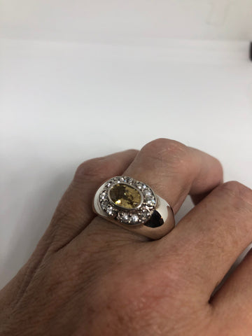 Vintage Citrine 925 Sterling Silver gothic Ring SIze 7