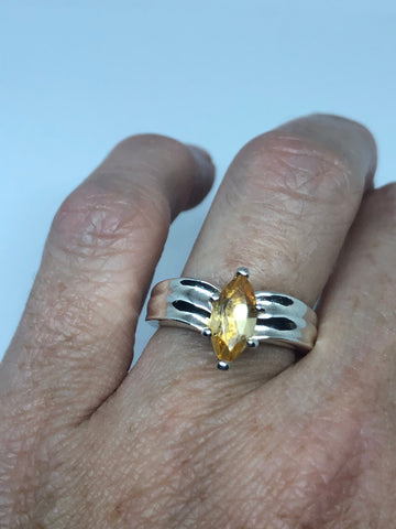 Vintage Citrine 925 Sterling Silver Deco Ring SIze 7