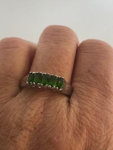 Vintage Handmade green Chrome Diopside Sterling Silver Ring