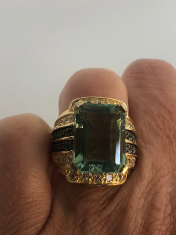 Vintage Handmade Genuine Green Flourite and white blue sapphire  Golden 925 Sterling Silver Deco Ring