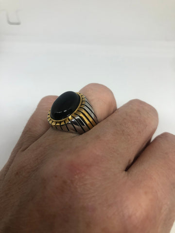 Vintage Gothic Black Onyx Gold Accent stainless steel Mens Ring