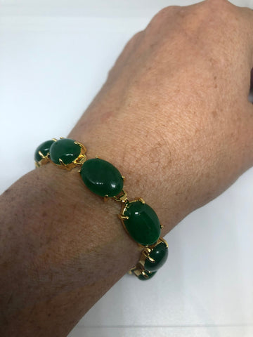 Vintage white bronze Gold Finish Green Jade Lucky Bracelet