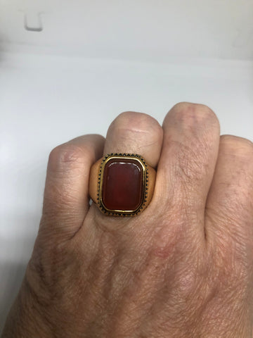Vintage Gold Detailed Red Carnelian Mens Ring
