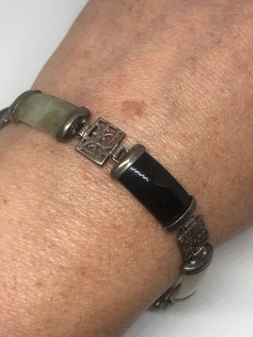 Vintage Onyx Bracelet 925 sterling silver Lucky Chinese Words