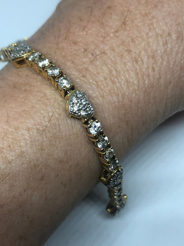 Vintage White Diamond Heart CZ Bracelet Gold Rhodium Finished 925 Sterling Silver Tennis