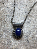 Vintage Blue Lapis 925 Sterling Silver Pendant Necklace Tibet