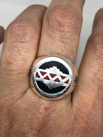 Vintage Native American Style Southwestern Coral Stone inlay Mens Ring