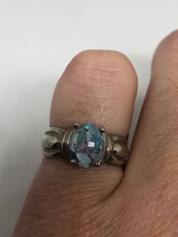 Vintage Blue Fire Opal Ring Sterling Silver