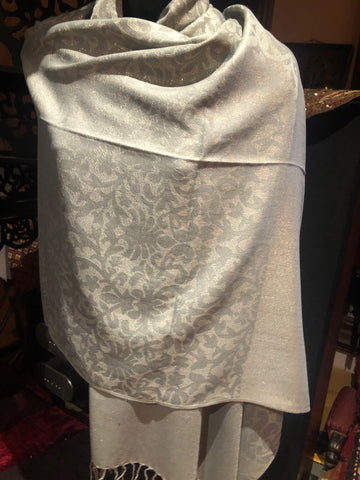 Vintage Styled Silver Gray pashmina brocade wrap Shawl