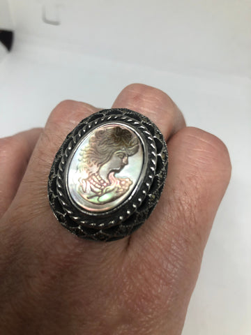 Antique White mother of pearl cameo marcasite fillgree ring Size 8