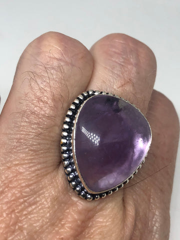 Vintage Purple Amethyst silver cocktail statement ring Size 7