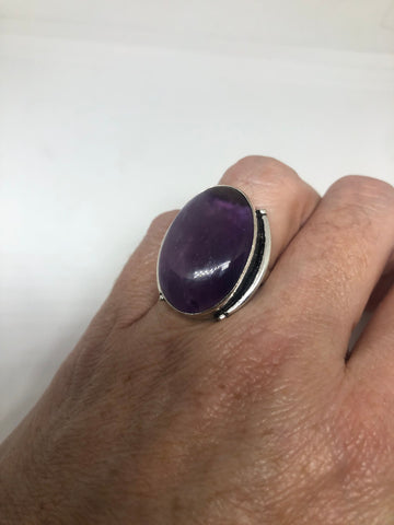 Vintage Purple Amethyst silver cocktail statement ring Size 6