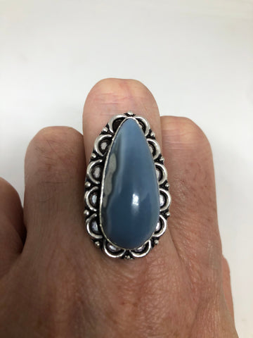 Vintage Blue Onyx ring statement cocktail Size 8.5
