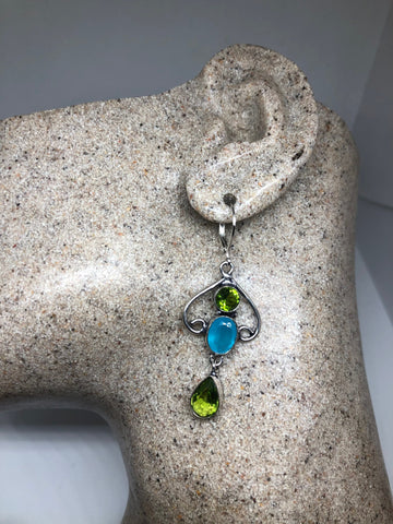 Vintage Peridot Blue Chalcedony Earrings Silver Dangle