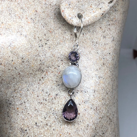 Vintage rainbow moonstone Amethyst sterling silver lever back dangle earrings