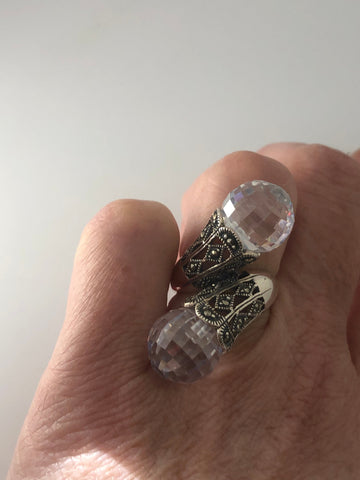 Vintage Marcasite Ring Cubic Zirconia Crystal 925 Sterling Silver Cocktail Statement