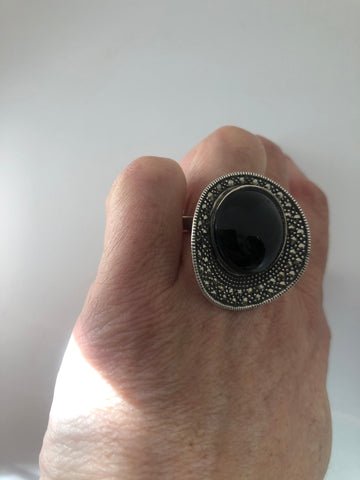 Vintage Marcasite Ring Black Onyx 925 Sterling Silver Cocktail Statement