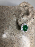 Vintage Green Jade Earrings Stud Button