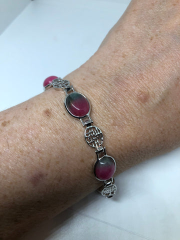 Vintage Ruby Zoisite Bracelet silver Lucky Chinese Calligraphy Words