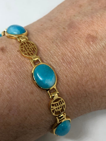 Vintage Turquoise Chalcedony Bracelet Golden Lucky Chinese Calligraphy Words