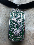 Vintage Green Jade Choker Silver Finish Dragon necklace pendant