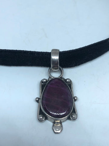 Vintage Pink Raw Ruby Choker 925 Sterling Silver Pendant Necklace