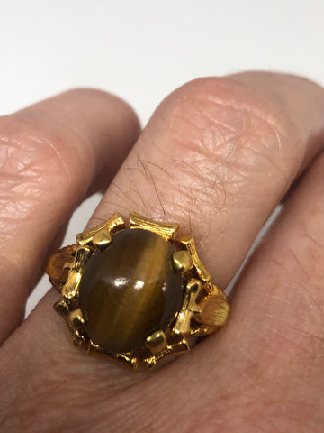 Vintage Tiger's Eye stone golden sterling silver 925 ring