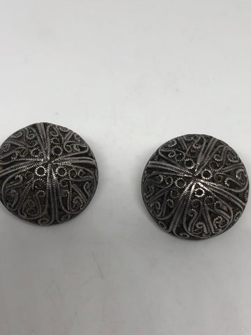 Antique vintage 925 sterling silver clip on button earrings