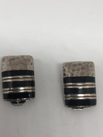 Antique vintage Black onyx 925 sterling silver clip on button earrings