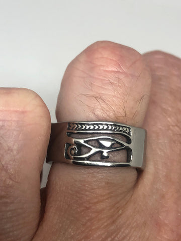 Vintage Silver Stainless Steel Egyptian Ankh Horus Eye Mens Ring
