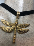 Vintage Golden Stainless Steel Dragonfly Choker Necklace