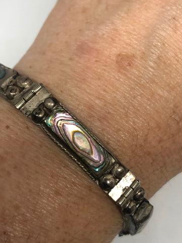 Vintage Abalone Mexican 925 Sterling Silver Bracelet