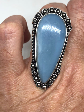 Vintage Blue Onyx ring statement cocktail Size 6